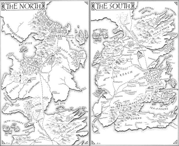 The Map from the Song of Ice and Fire Books