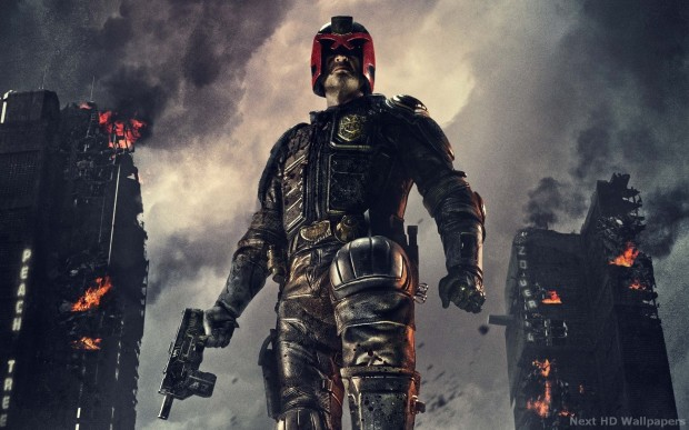 Judge Dredd played by Karl Urban