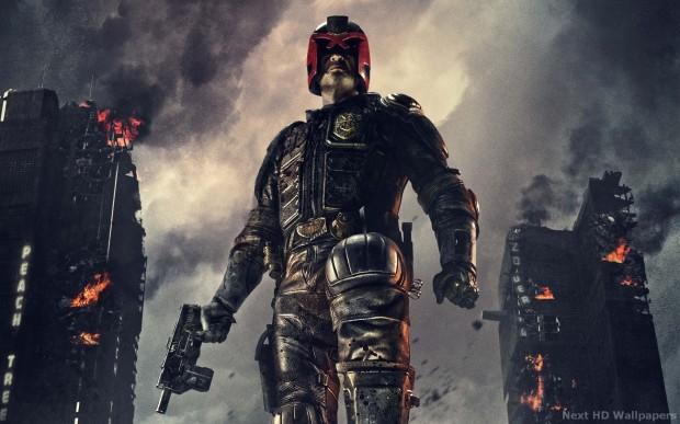 Judge Dredd played by Karl Urban