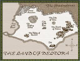 Map of Deltora. In each book they go to a new, ominous sounding place.
