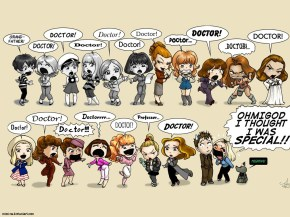 doctor who all the female companions cartoon cool