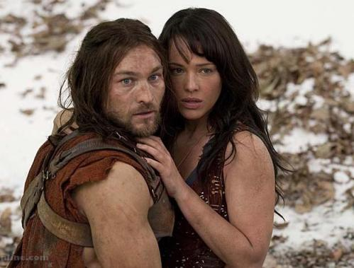 Erin Cummings (Sura) and Andy Whitfield (Spartacus) on Spartacus