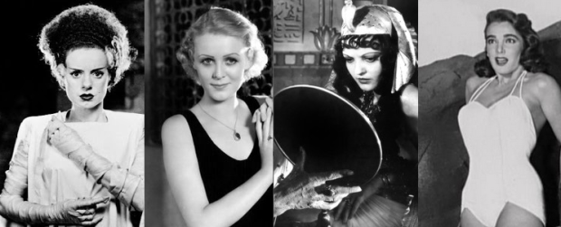 The ladies of Universal's monster films: Elsa Lanchaster, Glora Stuart, Zita Johann, and Julie Adams