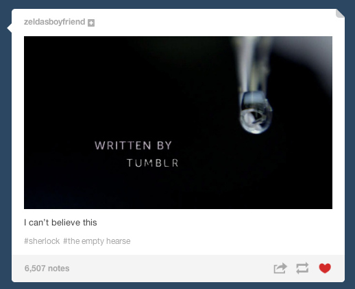 Sherlock written by tumblr