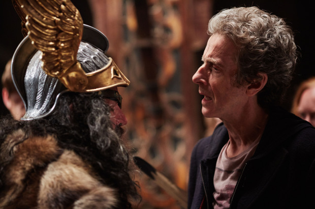 WARNING: Embargoed for publication until 00:00:01 on 13/10/2015 - Programme Name: Doctor Who - TX: 17/10/2015 - Episode: THE GIRL WHO DIED (By Jamie Mathieson and Steven Moffat) (No. 5) - Picture Shows: ***EMBARGOED UNTIL 13th OCT 2015*** Odin (DAVID SCHOFIELD), Doctor Who (PETER CAPALDI) - (C) BBC - Photographer: Simon Ridgway