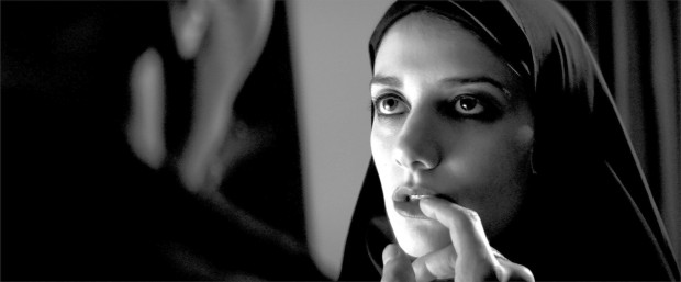 Sheila Vand in the movie  A GIRL WALKS HOME ALONE AT NIGHT. Photo Credit: Kino Lorber Inc.