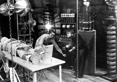 FRANKENSTEIN,1931, Boris Karloff, Colin Clive and Dwight Frye.