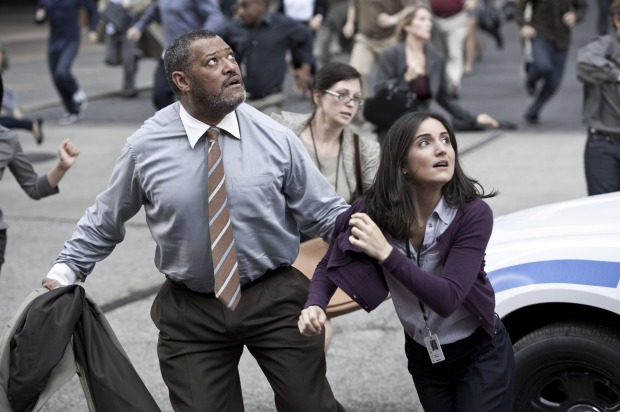 """(L-r) LAURENCE FISHBURNE as Perry White and REBECCA BULLER as Jenny in Warner Bros. Pictures' and Legendary Pictures' action adventure """"MAN OF STEEL,"""" a Warner Bros. Pictures release."""