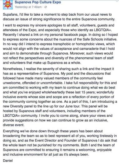 Supanova recent apology