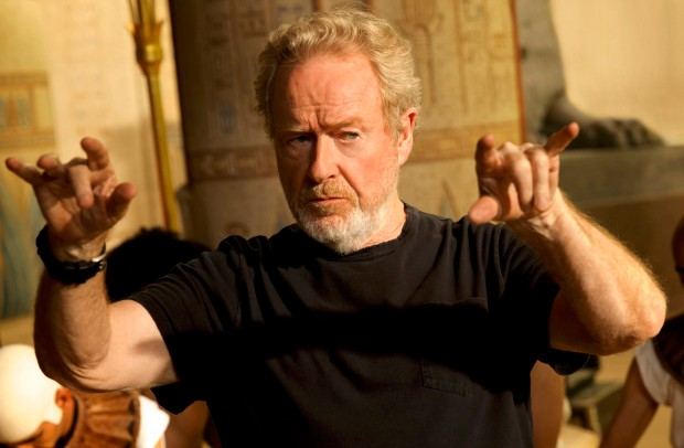 Ridley Scott directs a scene on the set of the movie Exodus: Gods and King