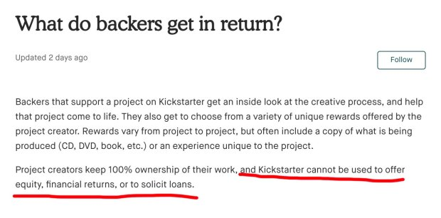 Kickstarter rules 2