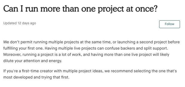 Kickstarter rules